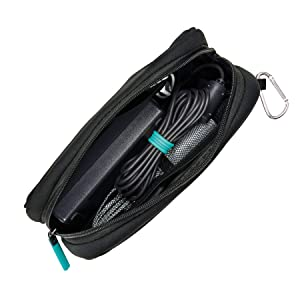 The Caravan Neoprene Case by Wrap-It Storage - Laptop Charger Case, Electronics and Laptop Accessories Pouch, Computer Power Cord and Accessories Bag, and Travel Case or Pen and Pencil Pouch, Black