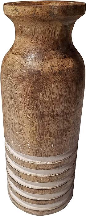 Modern Rustic Carved Wood Bottle Vase Home Decor