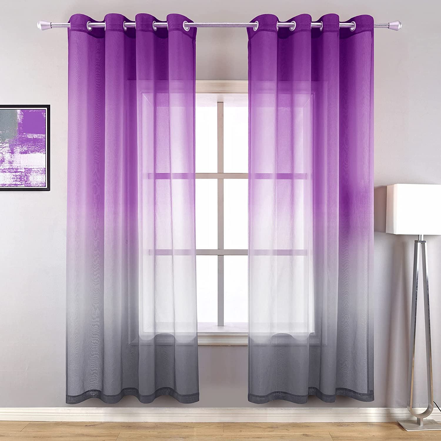 Purple and Grey Glam Room Decor for Home Ombre Pattern Design Sheer Modern Luxury Curtains for Living Room Set of 2 Panels 52 x 63 Inch Length