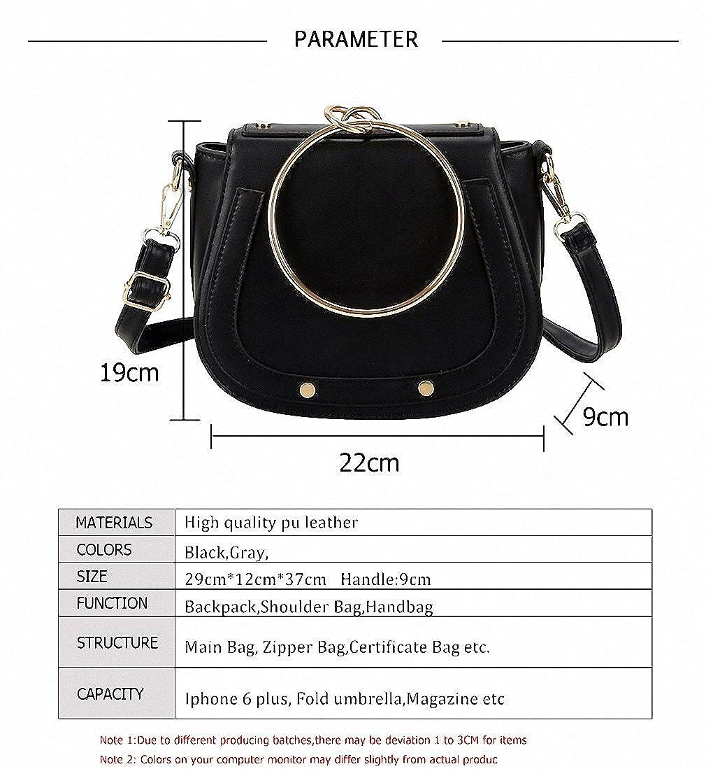 Women Bags Designer Handbags Pu Leather Metal Ring Handle Small Women  Shoulder Crossbody Bags Saddle  Handbags  Amazon.com 573c873b206e0