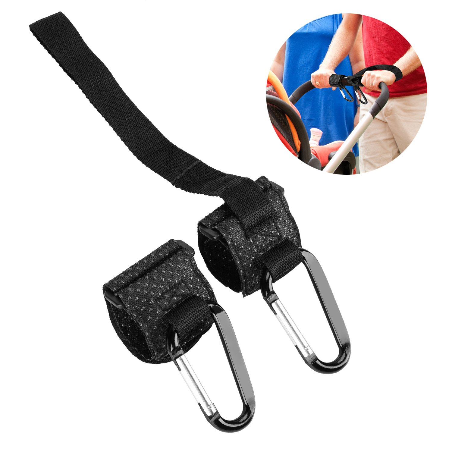 Phogary Stroller Hooks with Baby Safety Belt 2 Pack Universal Fit Pushchair/Buggy/Pram Hooks for Shopping Bags Handbags Diaper Bag, One with Wrist Strap for Baby Safety