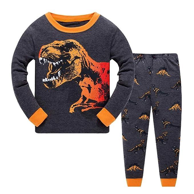 Gold Treasure Niños Chicos Pijamas Dinosaurio Conjunto Ropa de Dormir Manga Larga algodón Ropa Dos Piezas