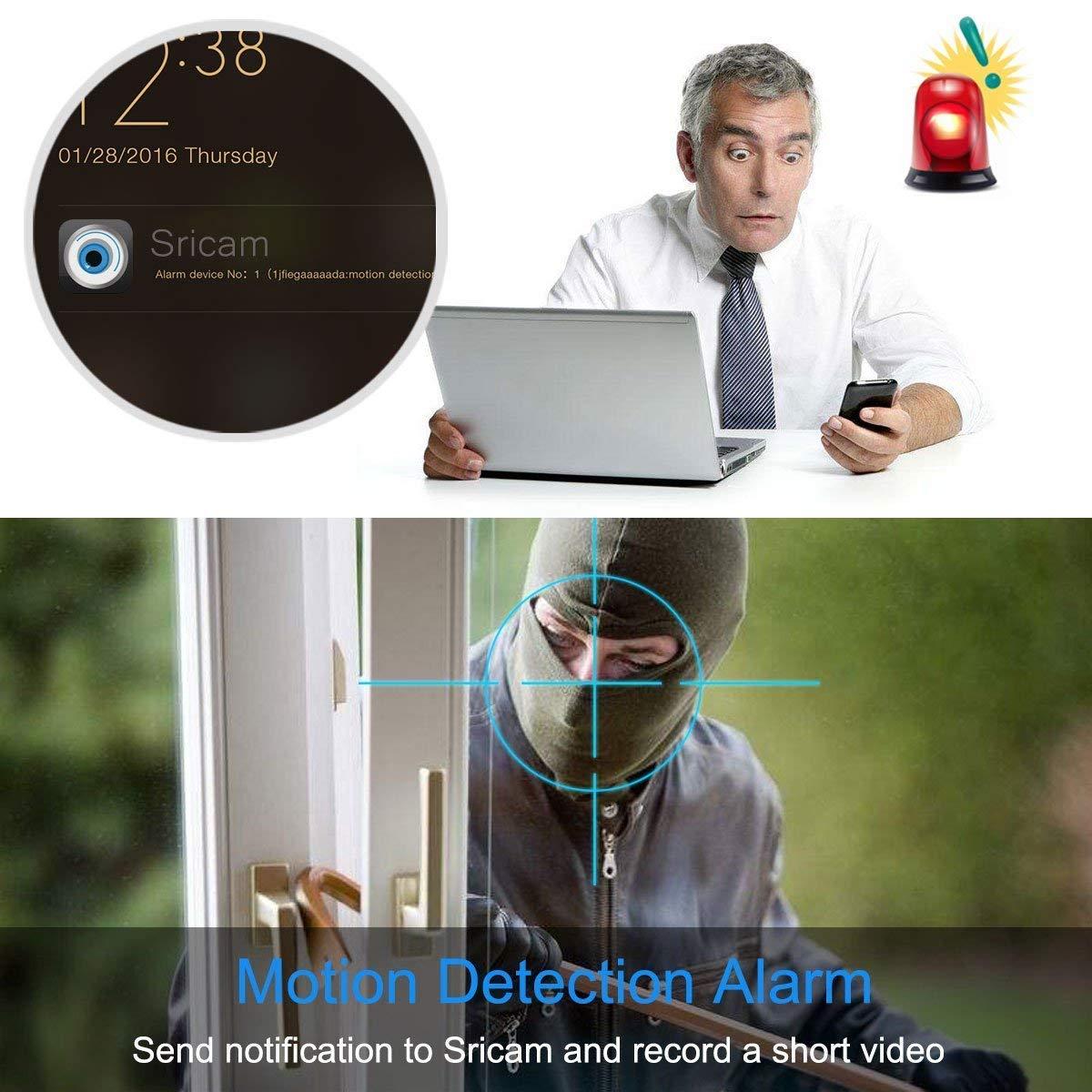 Sricam SP020 Cámara IP 1080P, Cámara de Vigilancia WiFi con Visión Nocturna, Cámara de Seguridad con Detección de Movimiento Compatible con ...