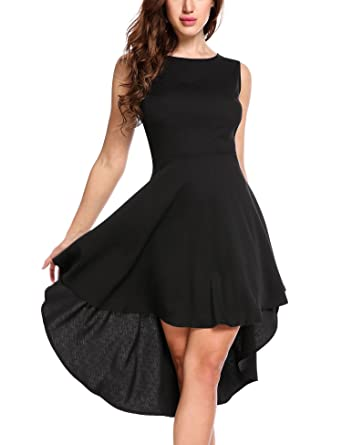 19f953c75ac95 Zeagoo Women s Sleevless Round Neck High Low Fit and Flare Party Dress