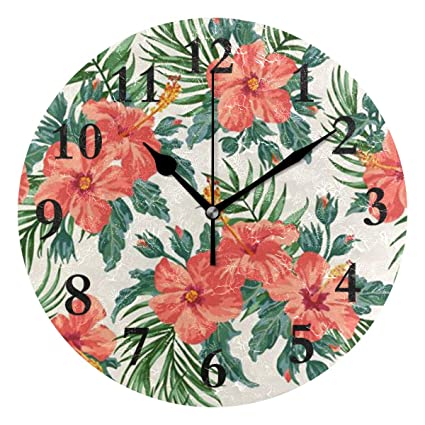 Amazon com: NMCEO Round Wall Clock Tropical Leaves and