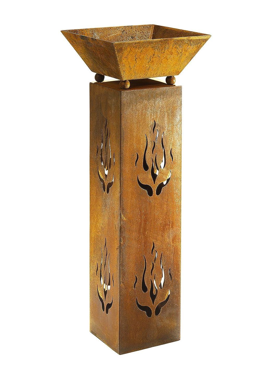 Kobolo Blumenständer Quadratisch mit Schale 33x33x89 cm