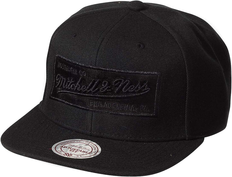 Mitchell /& Ness Box Logo NE18Z Black On Black Snapback Cap Kappe Basecap