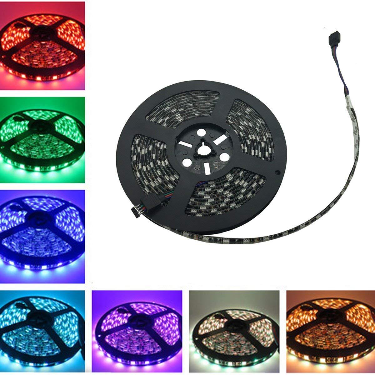 Yolu 1pcs 5 Meter Waterproof LED Strip Lights Kits 300SMD 5050 Black+7color