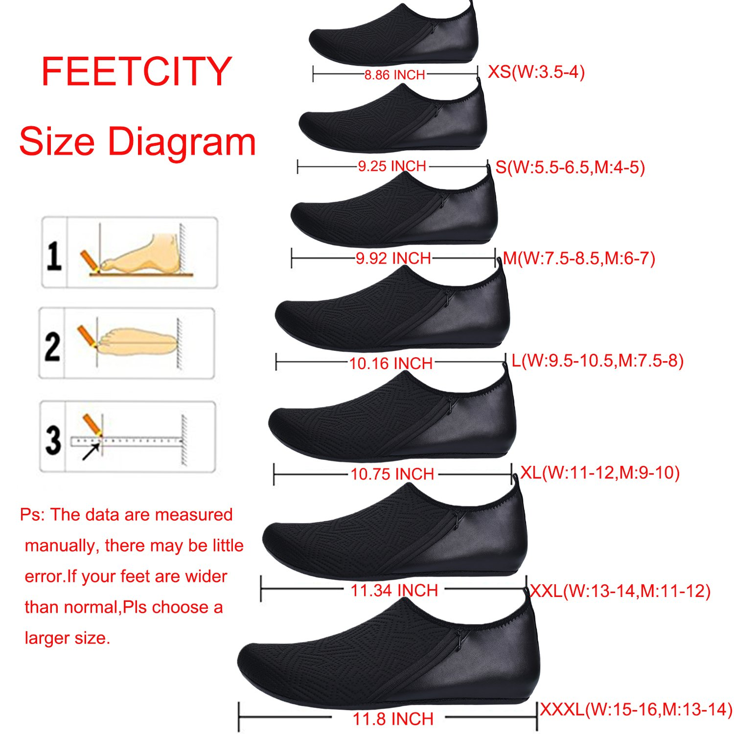 FEETCITY Womens Water Shoes Mens Water Footwear Quick-Dry Water Sports Beach Swim Shoes Leaf Black M(W:7.5-8.5,M:6-7) by FEETCITY (Image #3)