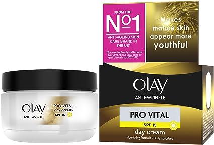 Olay Crema Antiarrugas Pro Vital, Hidratante, Antienvejecimiento de Día - Pack de 4 x 50 ml: Amazon.es: Belleza