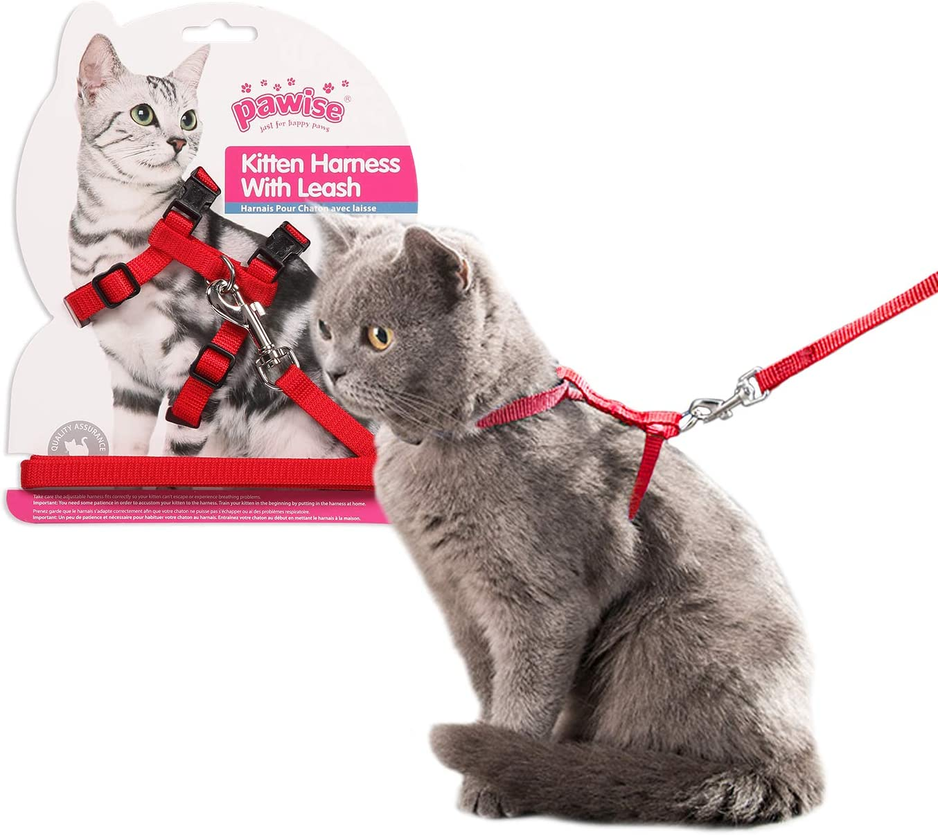 Pawise Adjustable Cat Harness With 4ft Leash Red Amazon Co Uk Pet Supplies