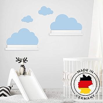 Wandtattoo Wolken in blau für IKEA Regalbrett Ribba/Mosslanda 55 cm  Bilderleiste für Babyzimmer Kinderzimmer – Aufkleber für Wand und Tapete