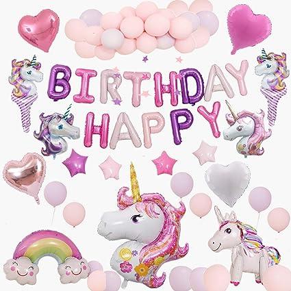Unicorn Birthday Decorations for Girls White Gold Rainbow Confetti Helium Balloons for Birthday Party Unicorn Party Supplies Decorations Favor 8 Pcs Unicorn Birthday Balloons Pink 5th