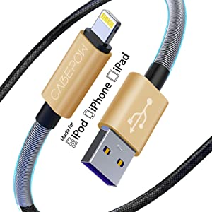 iPhone Charger Cable 6ft for Apple MFi Certified, Cabepow 6 Foot Lightning Cable Fast Charging Cord 6 Feet for iPhone 11/11 Pro /11 Pro Max/XS/XS Max/XR/X/8/8 Plus/7/6/5/SE [2 Pack]-Gold