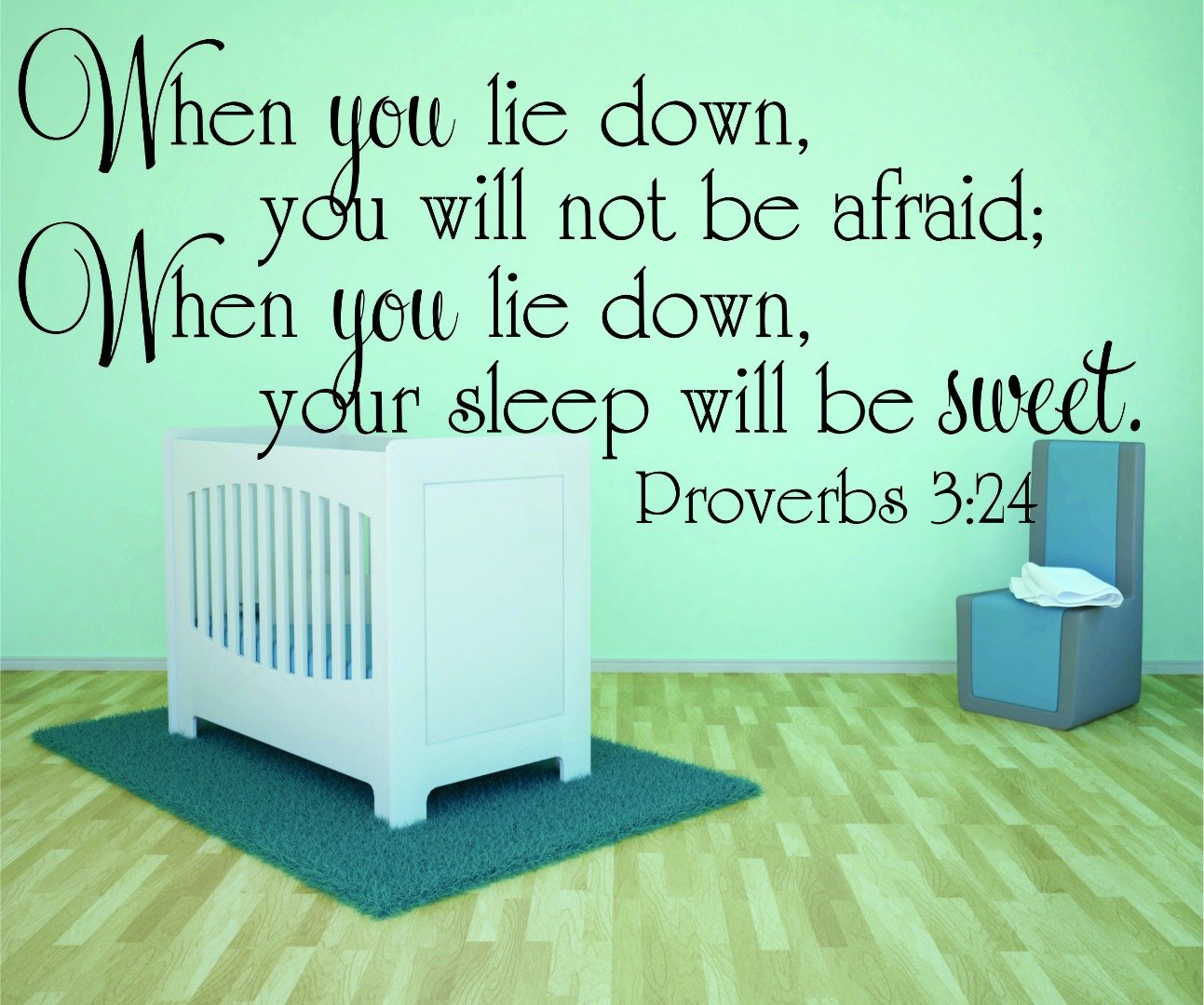 Design with Vinyl RAD 982 3 When You Lie Down You Will Not Be Afraid; When You Lie Down Your Sleep Will Be Sweet. Proverbs 3;24 Bible Quote KJV Baby Boy Girl Wall Decal Black 20 x 30