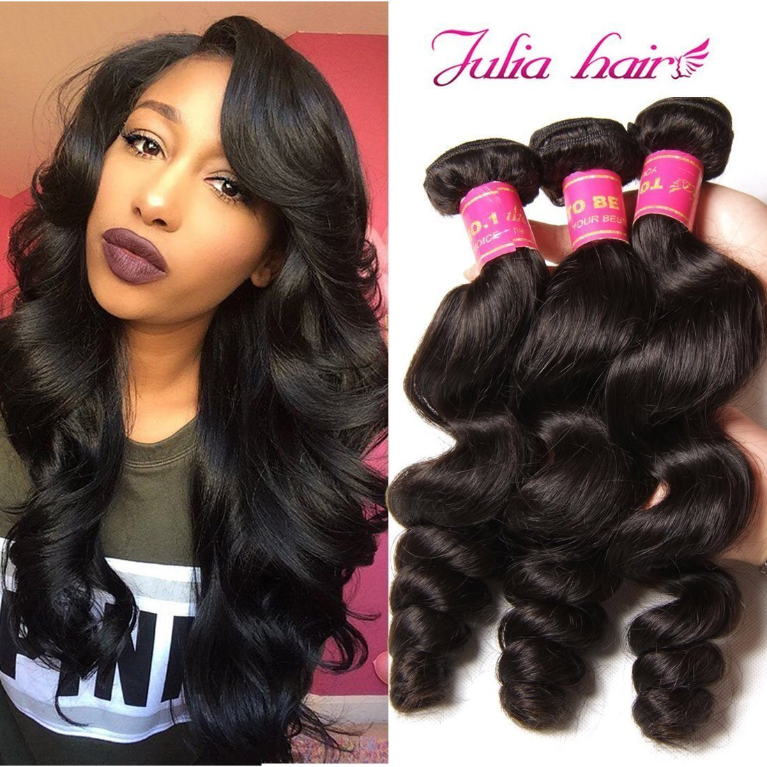 ALI JULIA 8A Brazilian Loose Wave Hair Weave 4 Bundles 100% Unprocessed Virgin Human Hair Weft Extensions 95-100g/pc Natural Color (4PC20 22 24 26) by Yilian (Image #1)