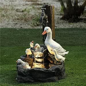 Solar Power Willapa Resin Duck Family Patio Fountain Garden Decoration Outdoor Landscape Garden Design (Duck Family)