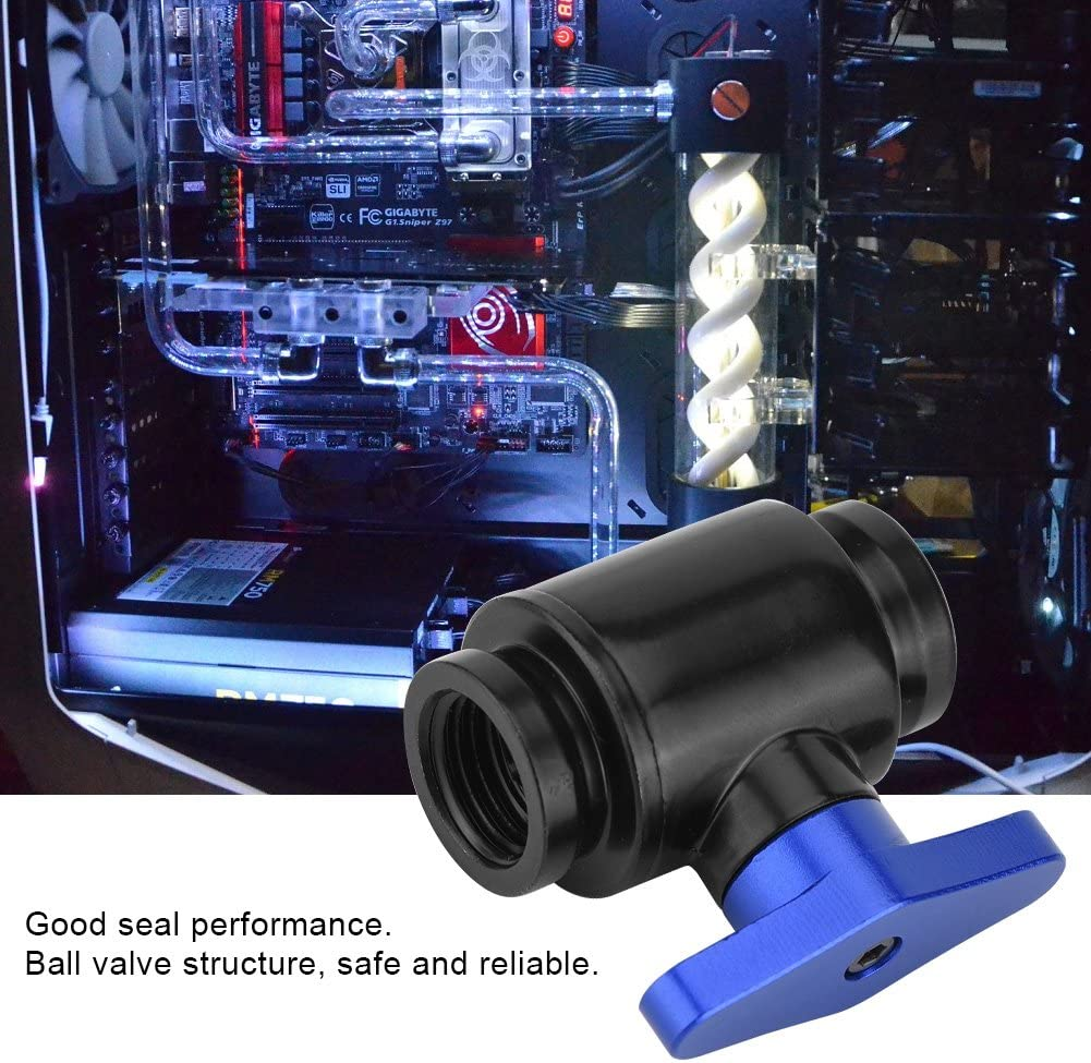 fosa Mini Water Cooling Valve G1//4 Thread Internal Dentition PC Water Radiator Water Ball Valve for Computer Water Cooling System Black Handle