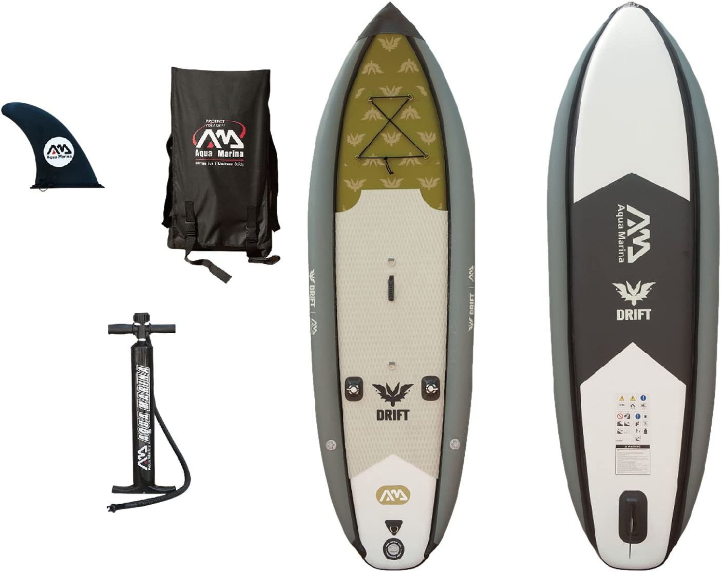 Aqua Marina Drift Fishing Inflatable Stand-up Paddle Board with Fish Cooler Fishing Rod Holders