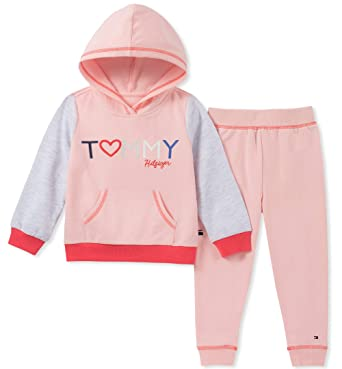 1906841cfe2 Tommy Hilfiger Baby Girls 2 Pieces Jog Set, Crystal Rose/Heather Gray 12M