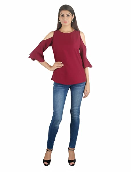 48d4146e950ed4 STakriti1 Off Shoulder Wine American Crepe Top for Girls Women - Small