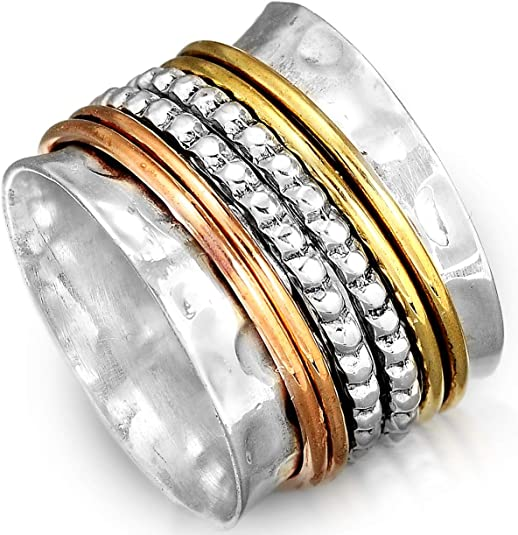 925 Sterling Silver Band /& Copper statement Spinner Ring Jewelry All Size R-617
