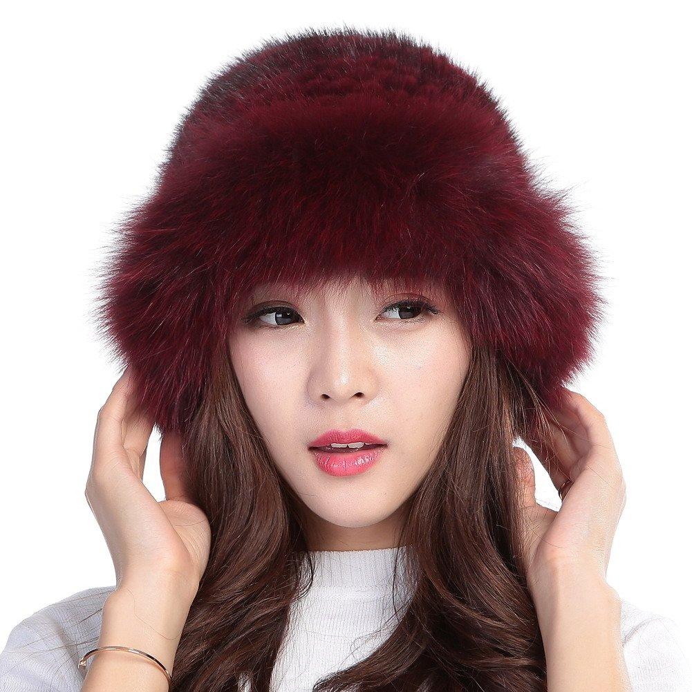 Valpeak Womens Winter Hat Knitted Mink Real Fur Hats with Fox Brim (Wine Red)