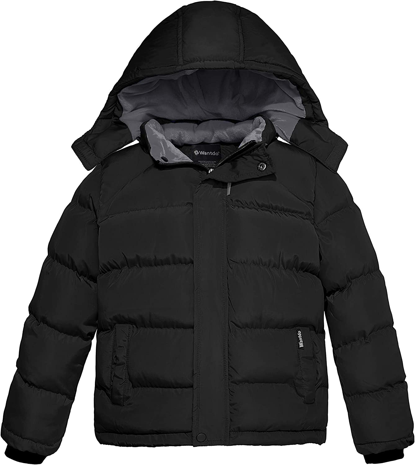 Wantdo Boy's Padded Winter Coat Thicken Warm Jacket with Detachable Hood