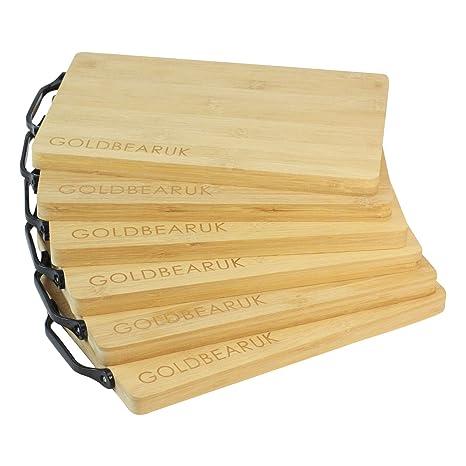 CultusWares - Juego de 6 tablas de cortar de madera de bambú con mango negro