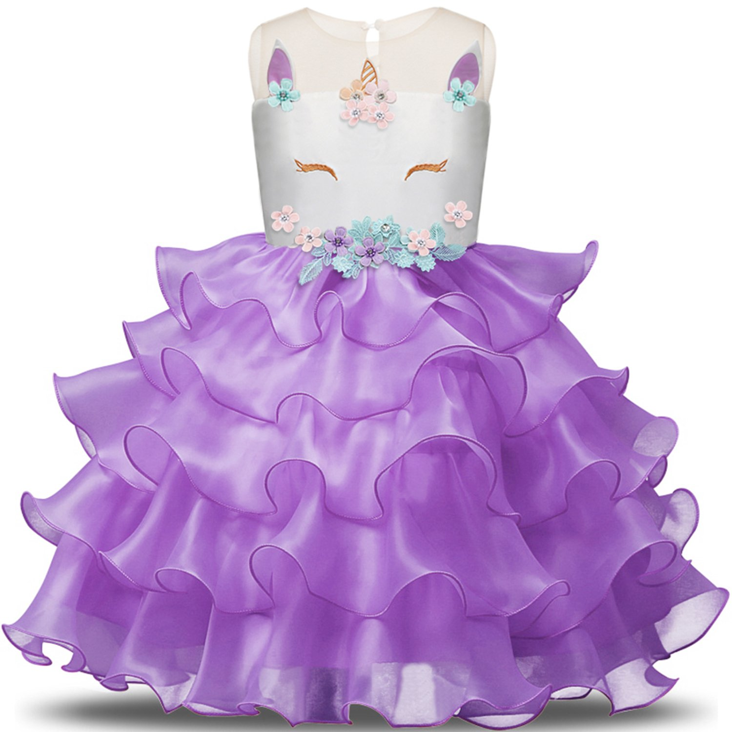 NNJXD Girl Unicorn Flower Ruffles Cosplay Costume Pageant Party Princess Dress Size (140) 6-7 Years Purple