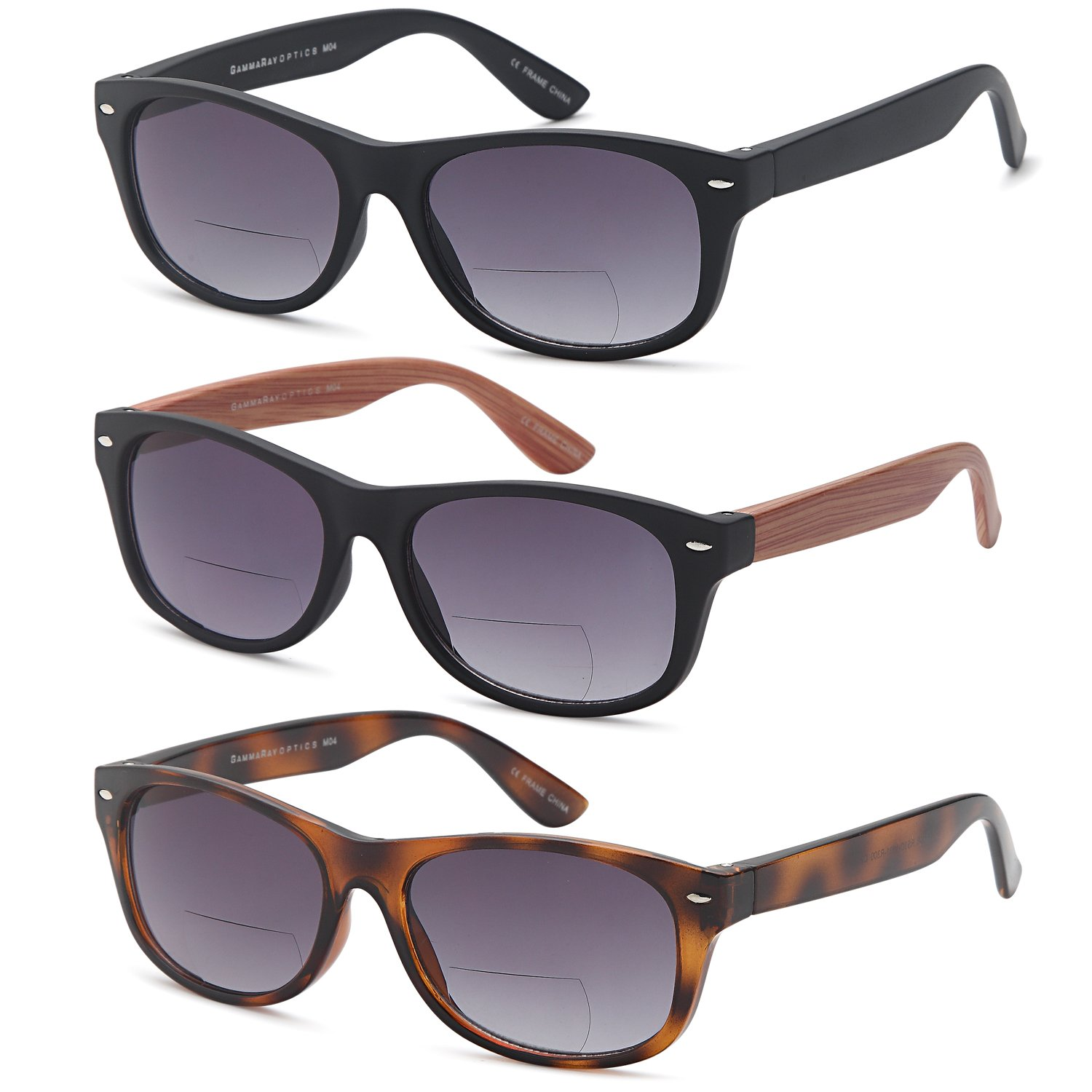 GAMMA RAY 3 Pairs Bifocal Gradient Sunglasses Readers Reading Glasses - Choose Your Magnification