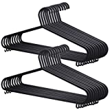 100x Adult Coat Hangers Black Colour Strong Plastic Clothes (36cm Wide)