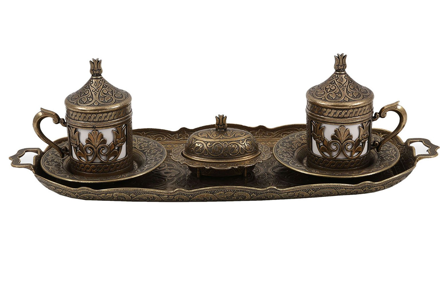 Traditional Design Brass Cast Turkish Armenian Arabic Greek Coffee Set, Coffee Cup, Espresso Set, Tea Set for Two-(CS2-205)