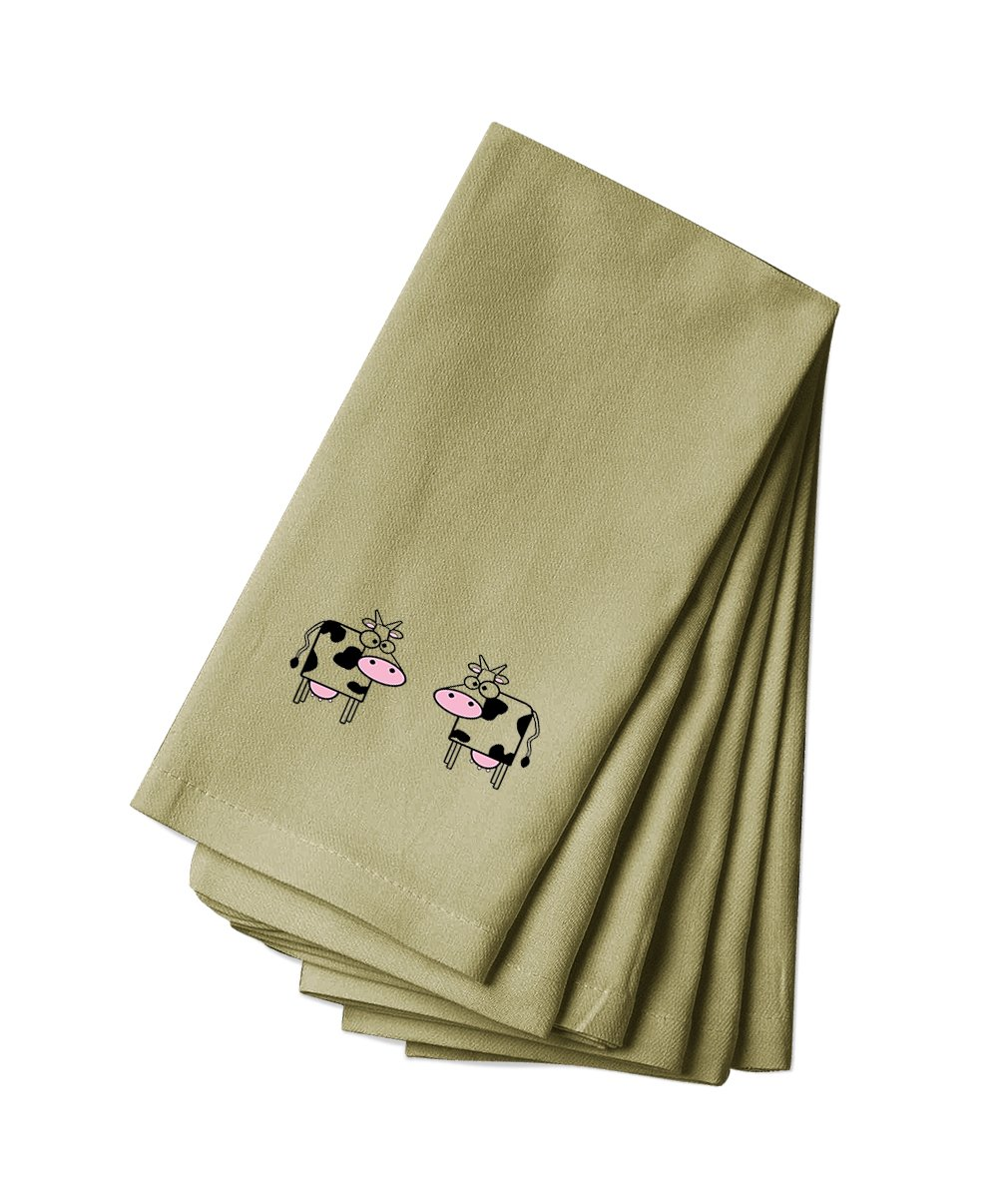 Style in Print Cotton Canvas Dinner Napkin Set Of 4 Cows Animal Image By