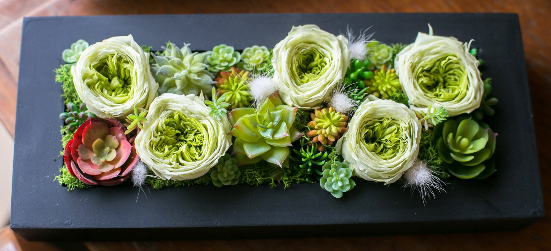 プリザーブドフラワー 多肉植物 ギフト 造花 ローズグリーンBOX (Lサイズ) B079G1L1F3   Lサイズ