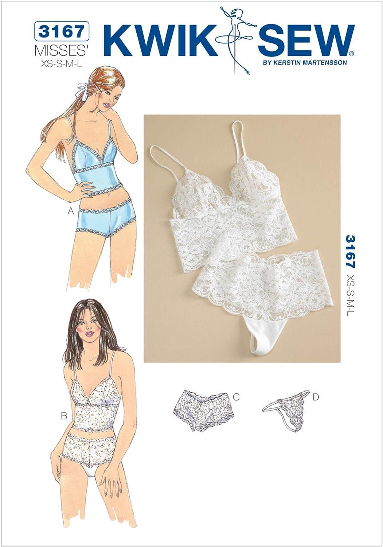 Patrones de Costura para Confeccionar Ropa Interior de Mujer Tallas XS a L, Instrucciones en ingl/és Kwik Sew 3167