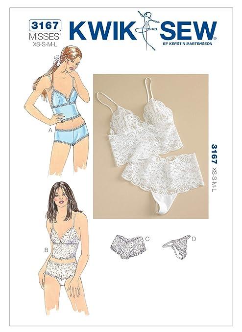 Kwik Sew 3167 - Patrones de costura para confeccionar ropa interior de mujer (tallas XS