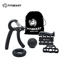 Hand Grip Nagelhärter Unterarm Grip Workout Kit – 5 PACK, fitbeast Einstellbare Hand Greifer, Finger FitBeast (Black)
