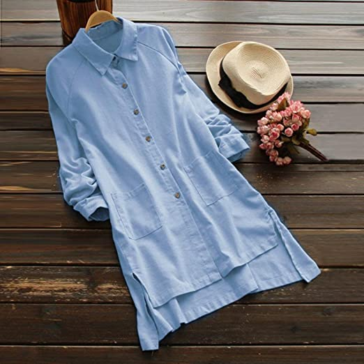 Clearance! Promotion! Seaintheson Plus Size Long Sleeve Tunic Tops for Women Loose Casual Pocket Button Long Tops Shirt Blouse: Amazon.com: Grocery ...