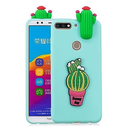 Funluna Funda Huawei Y7 2018 Silicona, 3D Cactus Patrón Cover Slim TPU Goma Suave Carcasa Gel Anti-Rasguño Protectora Espalda Caso Bumper Case para ...
