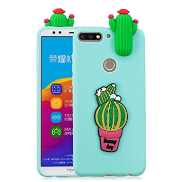 negozio online 2d67e ea09d Funluna Huawei Y7 2018 Case, Honor 7C Cover, 3D Design Premium TPU Soft  Silicone Gel Case with Cute Cactus Pattern Flexible Protective Skin Cover  for ...