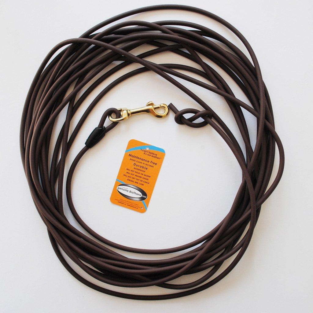 10 Meter Schleppleine aus dunkelbrauner, runder Biothane (coated rope) BioThane®