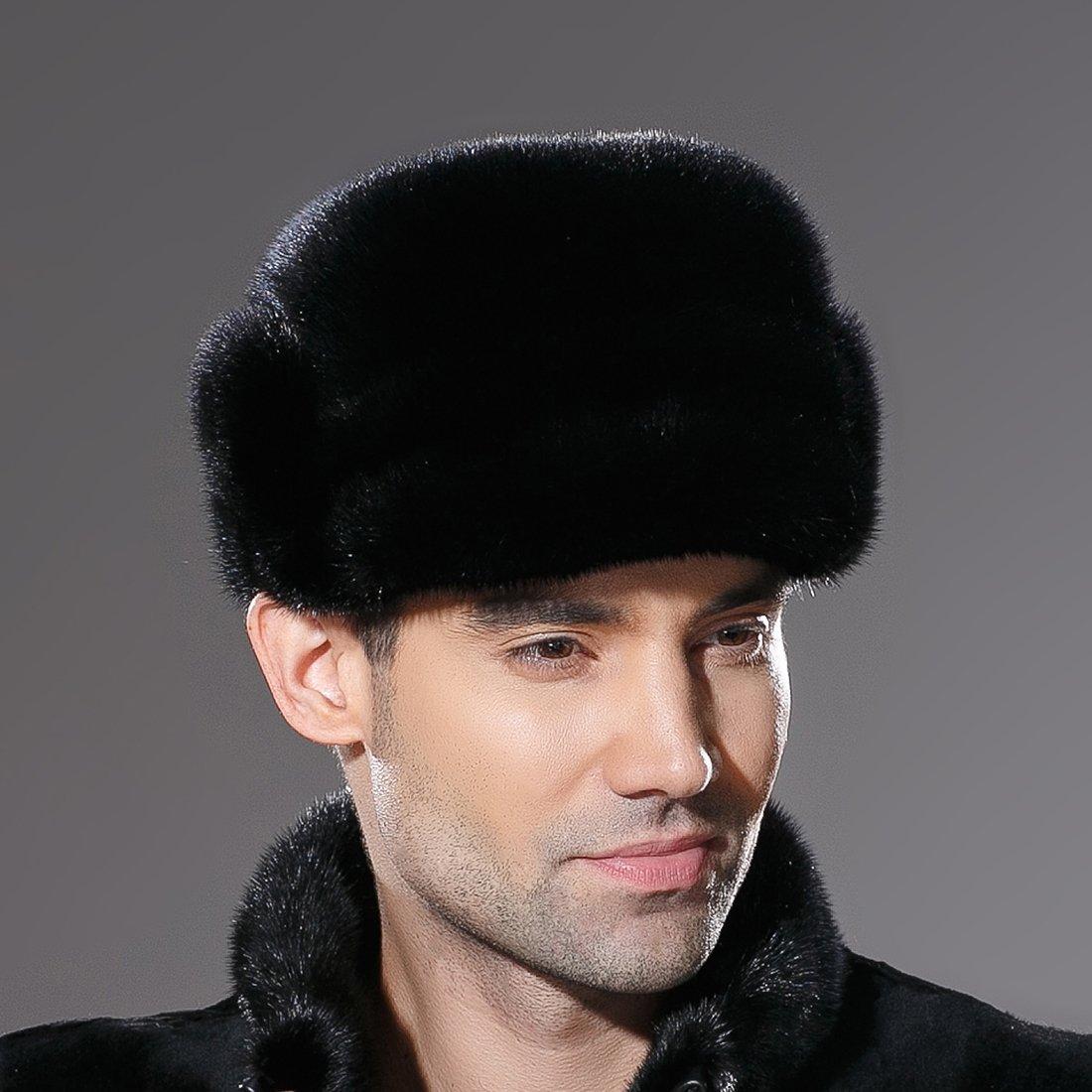 URSFUR Mne's Winter Fur Cap Genuine Mink Fur Fudd Hat Black M by URSFUR (Image #3)