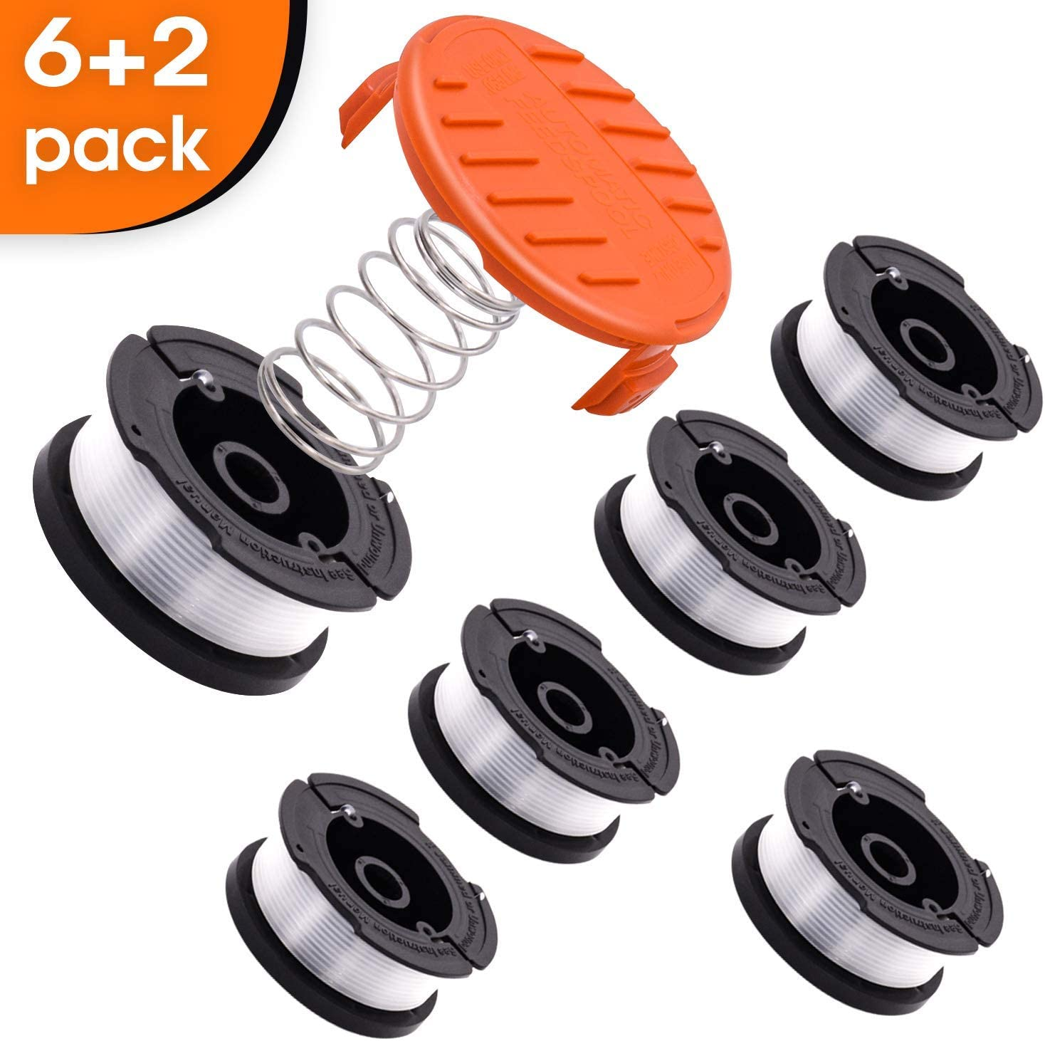 SOKOO Weed Eater Wacker String 065 Trimmer line Spool,30ft Autofeed Black and Decker AF-100 String Spool Wacker String Trimmer 8Pack(6 Spool,1Trimmer Cap,1Spring) besta510 Home Weed Eater Spool
