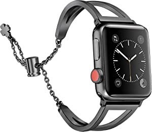 Secbolt Stainless Steel Bands Compatible with Apple Watch Band 42mm 44mm iWatch SE Series 6/5/4/3/2/1, Dressy Bangle Bracelet Women, Black