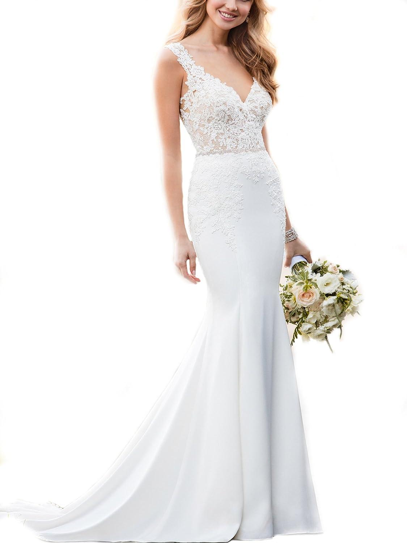 Weddingdazzle Deep V Neck Lace Appliques Beach Wedding Dresses For