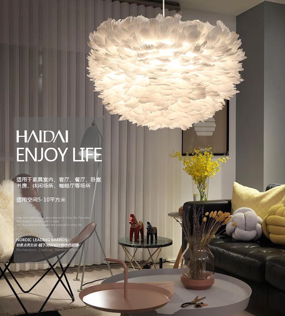 QMMCK Lampe Suspension Plumes Lampe Plafonnier Artistique Plume DOie Artificielle Et S/écuris/ée Plume /À La Main Source De Lumi/ère Led 50Cm