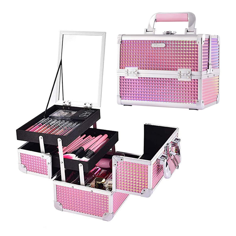 maletin profesional para maquillaje rosa Joligrace