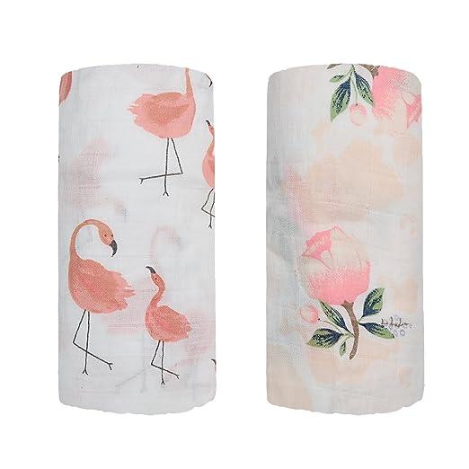 Mantas cuadradas de muselina de bambú - 2 paquetes de flamencos y estampado floral bebé manta de recepción para niña ducha regalo por QavJuh (Flamenco ...