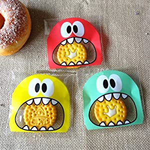 Desi Rang Monster Candy Bag 50 Pcs Set Food Grade Plastic Party Supplies Cookies Bags for Birthday Wedding Decoration